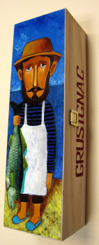 """Fisherman"". Hand-painted Art Gift Box for 1 bottle"
