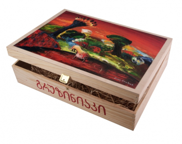 """Lion"". Hand-painted Art Gift Box for 3 Bottles"
