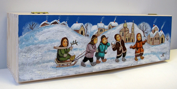 """Winter. According to the motif of Anna Shchogoleva."" Hand-painted  Art Gift Box for 1 bottle"