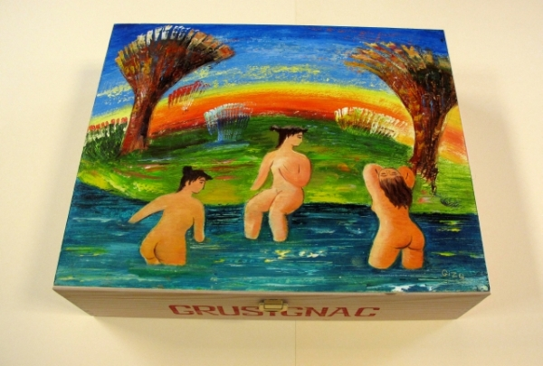 """Bather"". Hand-painted Art Gift Box for 3 Bottles"