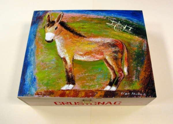 """Donkey"". Hand-painted Art Gift Box for 3 Bottles"