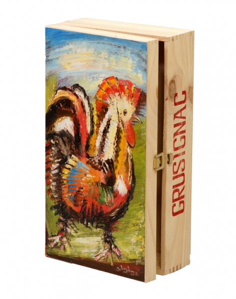 """Cock"". Hand-painted Art Gift Box for 2 Bottles"