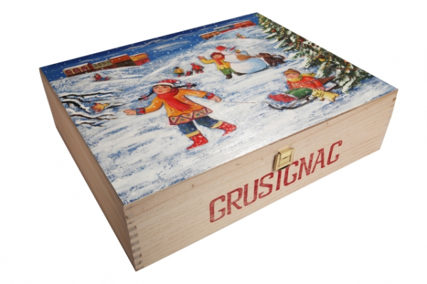 """Christmas"". Hand-painted  Art Gift Box for 3 Bottles"